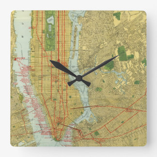 1918 New York Central Railroad Map Square Wall Clock