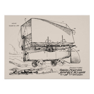 1919 Flying Car Airship Patent Art Drawing Print
