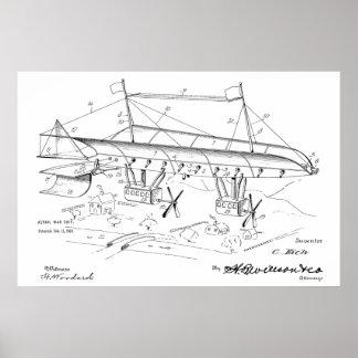 1919 War Airship Airplane Patent Art Drawing Print