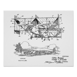 1920 Biplane Airplane Patent Art Drawing Print