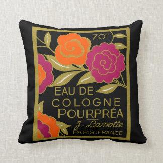 1920 French Eau de Cologne Pourprea perfume Throw Pillow