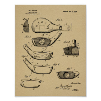 1920 Golf Club Head Design Patent Art Print