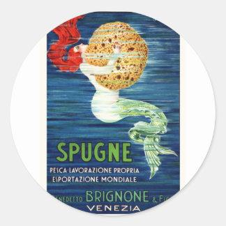 1920 Italian Mermaid With Sponge Advertising Poste Classic Round Sticker