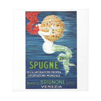1920 Italian Mermaid With Sponge Advertising Poste Notepad