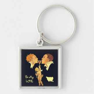1920 valentine kiss Silver-Colored square key ring