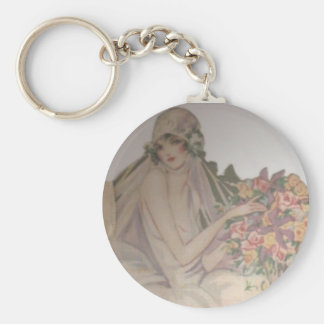 1920 Vintage beautiful bride Basic Round Button Key Ring