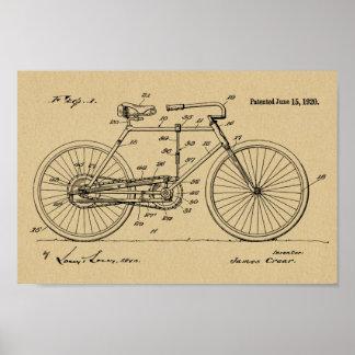 1920 Vintage Bicycle Design Patent Art Print