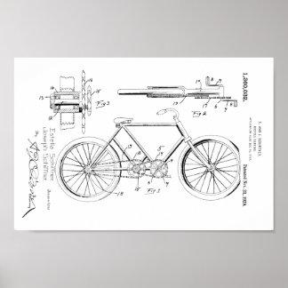 1920 Vintage Bicycle Gears Patent Art Print