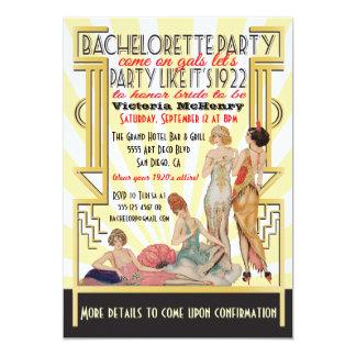1920's  Art Deco Bachelorette Party Personalized Invite