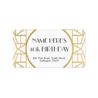 1920's Art Deco Birthday Gatsby Address Gold 20s Label