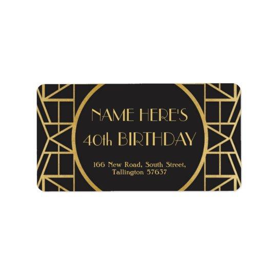 1920's Art Deco Birthday Gatsby Address Labels 20s