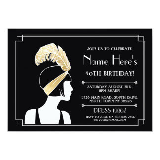 1920's Art Deco Birthday Invite Gatsby Girl Gold