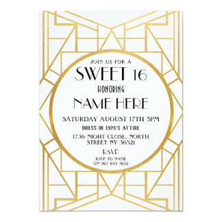 1920's Art Deco Birthday Sweet 16 Gatsby Party Card