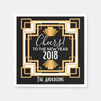 1920s Art Deco Cheers To The New Year Paper Napkin