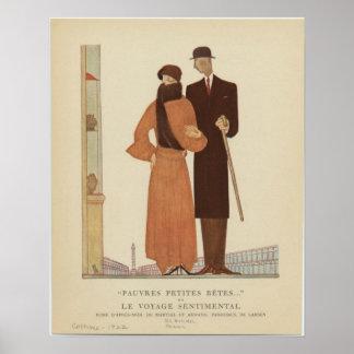 1920s Art Deco Couple ~ The Sentimental Journey Poster