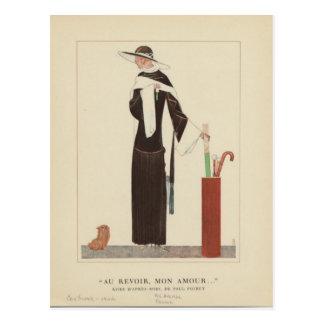 1920s Art Deco Lady ~ Au Revoir Mon Amour Postcard