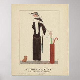 1920s Art Deco Lady ~ Au Revoir Mon Amour Poster