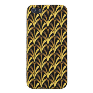 1920's Art Deco Style Fan Pattern in Black & Gold Case For iPhone 5/5S