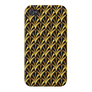 1920's Art Deco Style Fan Pattern in Black & Gold iPhone 4/4S Cover
