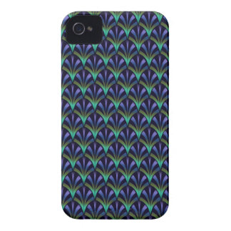 1920s Art Deco Style Fan Pattern in Peacock Colors iPhone 4 Case-Mate Case