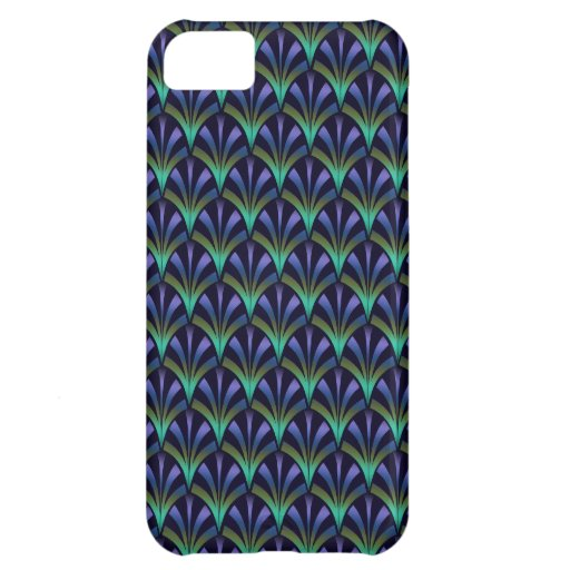 1920s Art Deco Style Fan Pattern in Peacock Colors Cover For iPhone 5C