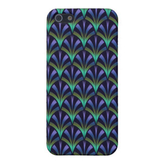 1920s Art Deco Style Fan Pattern in Peacock Colors Covers For iPhone 5