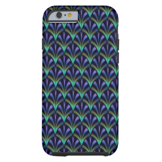 1920s Art Deco Style Fan Pattern in Peacock Colors Tough iPhone 6 Case