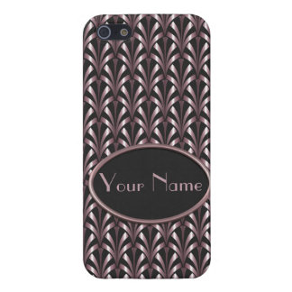 1920's Art Deco Style Fan Pattern in Pink & Grey iPhone 5/5S Case