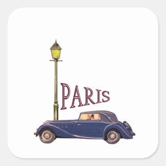 1920's Automobile - Paris Square Sticker