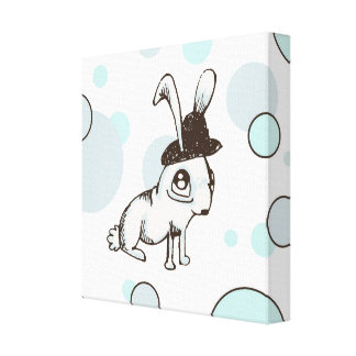 1920s Bunny Polka Dot Canvas Prints