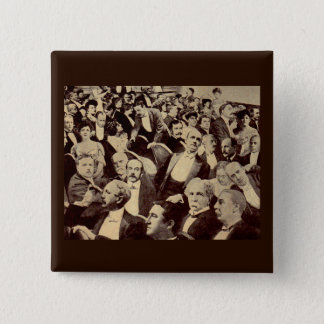 1920s crowd scene 15 cm square badge