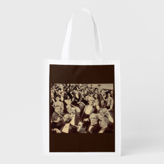1920s crowd scene reusable grocery bag