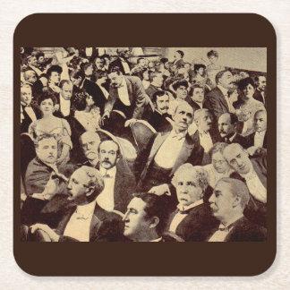 1920s crowd scene square paper coaster
