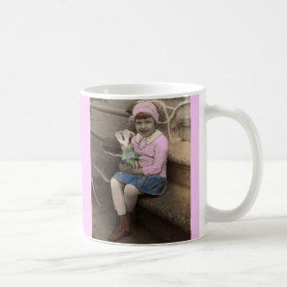 1920s cute little girl with bunny doll Happy Easte Coffee Mug