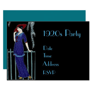 1920s dress up costume party card
