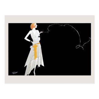 1920s fashion flapper girl drawing postcard