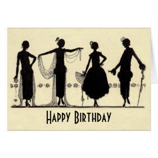 1920's Flapper Fashion Silhouette Birthday Card