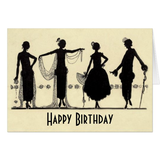 1920's Flapper Fashion Silhouette Birthday Card