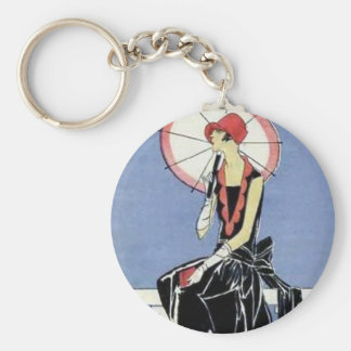 1920s Flapper with Umbrella Key Ring