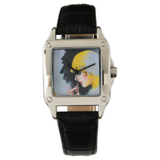 1920's Flapper Woman's Watch -  Black Leather