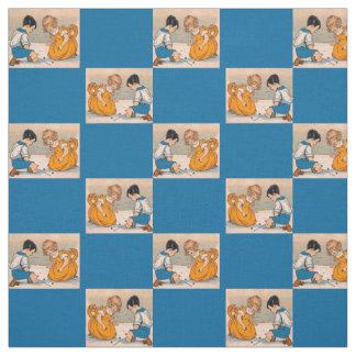1920s girl and boy playing marbles print fabric
