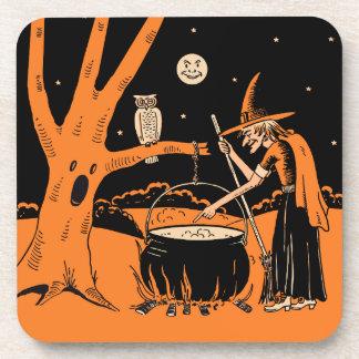 1920s Halloween Witch Beverage Coasters