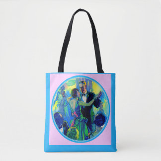 1920s lady and gentleman on the dance floor tote bag