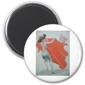 1920s Lady Bullfighter Holds Them Off 6 Cm Round Magnet
