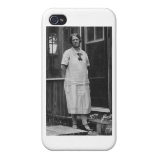 1920's Lady standing outside of building iPhone 4 Case