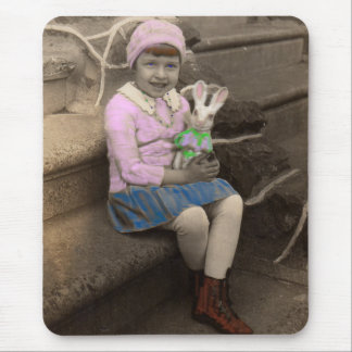 1920s little girl with bunny doll Happy Easter Mouse Pad