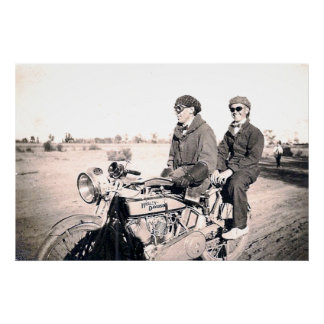 1920's Men Riding Motorcycle Canvas Print