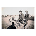1920's Men Riding Motorcycle Poster