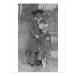 1920's Mother and Daughter by Tree Postcard