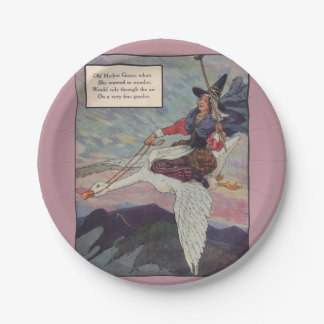 1920s Mother Goose riding her giant goose Paper Plate